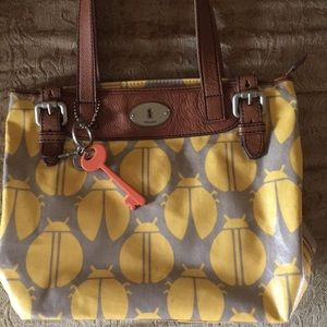 Fossil Key-per bag w/ yellow, tan bug print